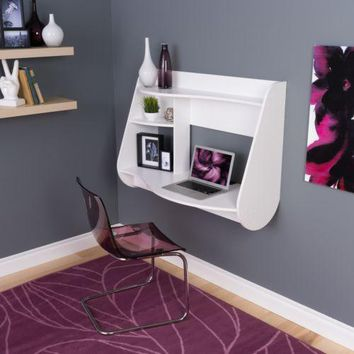 Floating Desk Wall Mount White Modern Furniture Wood Table Computer Home Dorm
