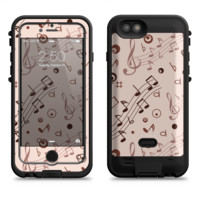 The Tan Music Note Pattern  iPhone 6/6s Plus LifeProof Fre POWER Case Skin Kit