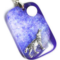 Howling Wolf Necklace Purple Galaxy  Pendant Wolf Howling at the Moon Agate Gemstone Druzy Crystal Long Necklace Lone Wolf Metaphysical