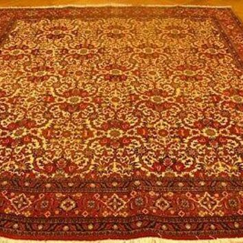 """Floral All-Over""""Iron"""" Durable Wool Persian Handmade v 8 x 9 Ivory Bijar Rug"""