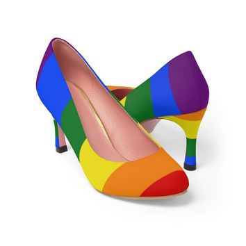 LGBTQ rainbow women's high heel shoes