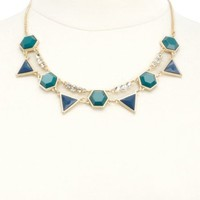 Two-Toned Geometric Gem Collar Necklace