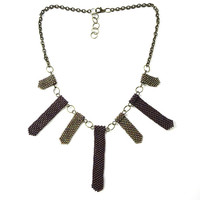 Sand and Maroon Statement Necklace