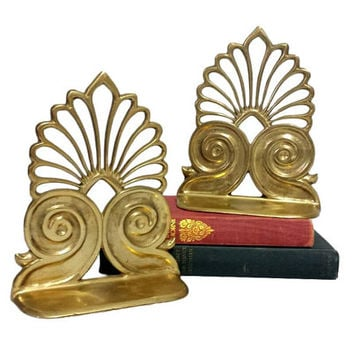 Brass Bookend Pair Art Deco Nouveau Gold Hollywood Regency Elegant Matching Set Vintage Library Home Office Bookshelf Decor Ornate Scroll