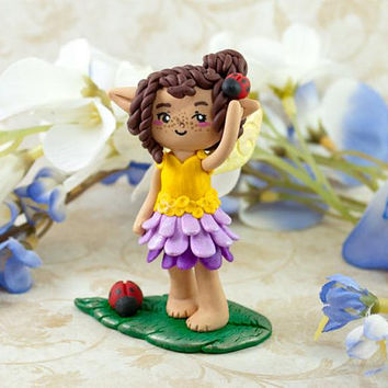 Ladybug Fairy Polymer Clay Figure, Fairy Figurine, Fairy Sculpture, Faerie Figurine, Cute Fairy Figurine, Adorable Fairy, Sprite Sculpture