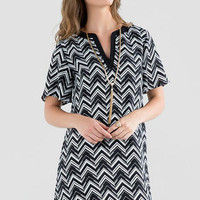 PEARCE CHEVRON SHIFT DRESS