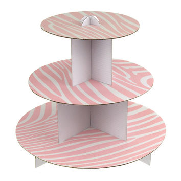 Zebra Cupcake Cardboard Holder Stand, 3 Tiers, 12-Inch, Light Pink
