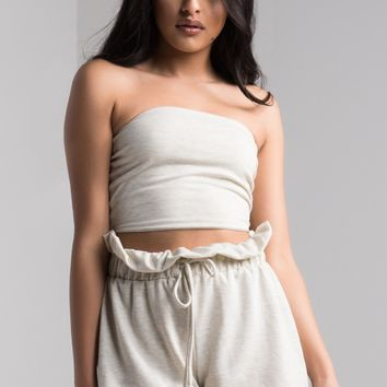 AKIRA Soft Stretchy Mid Rise Paperbag Waist Shorts in Oatmeal