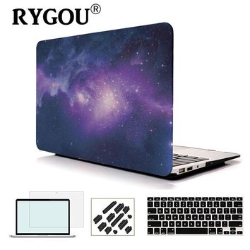 RyGou For MacBook Air 13 Case Galaxy Print Plastic Snap On Case Fits Mac Book Air 11 13 Model A1370 / A1465/ A1369 / A1466 Cover