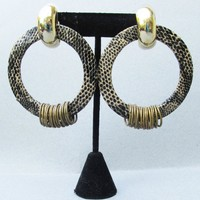 Massive Signed ASTOR Vintage 1980's Snake Skin & Rings Hoop Pierced Earrings