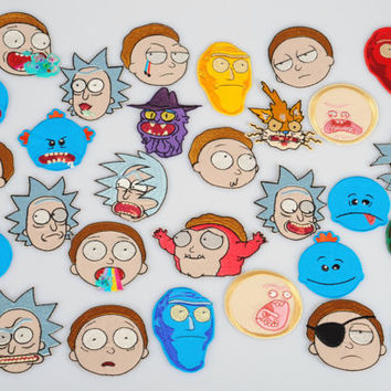 Rick and Morty animated series characters heads iron-on embroidery patches set FREESHIPPING