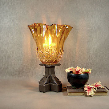 Amber Glass Buffet Lamp: Vintage Lamp Base with Handmade Glass Shade