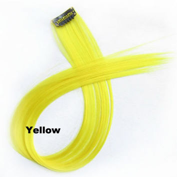 """1 pcs 22"""" Straight Hair Price,New Highlight Straight Ombre Colorful Candy Colored Colorful single Clip On In synthetic Hair Extension Hair piece Yellow"""