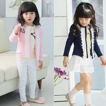 Baby Lace Jacket Knit Cardigan Girls Coat Crew Neck Clothes Gorgeous lovely Z_G = 1958229764