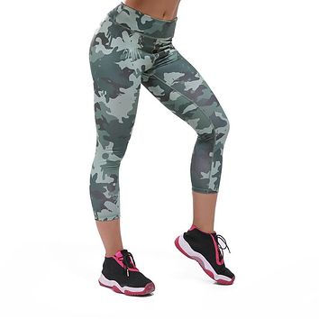 Camouflage Women Fitness Pants Skinny Tights 3/4 Buttocks Compression Tight Pants