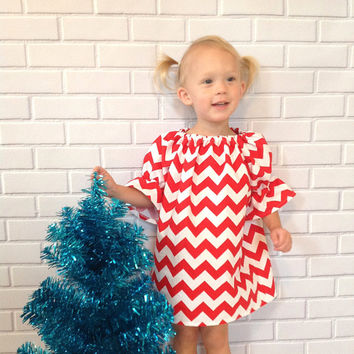Toddler Christmas Dress Girls Red White Chevron Dress Baby Christmas Clothes  Boutique Clothing By Lucky Lizzy s 8bd82c7a3cff