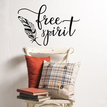 Free Spirit Vinyl Wall Decal- Tribal Nursery Wall Art Decor- Boho Wall Decal- Bohemian Wall Decal Bedroom- Feather Wall Decal Boho Decor #63
