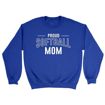 Proud softball mom team squad game day sport mom love softball  Mother's day Crewneck Sweatshirt
