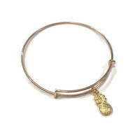 Pineapple Charm Bracelet - Pineapple Charm Bangle - Pineapple Adjustable Bangle Bracelet - Gold Pineapple Bangle - Gold Pineapple Bracelet