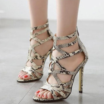 2016 New Brand Women Sandal Sexy Thin Heels High Heels Sandals Snakeskin Grain Open Toe Gladiator Sandals Women Sandalias C171