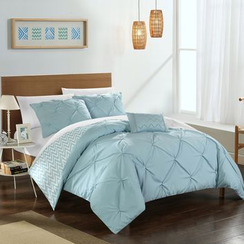 Chic Home 4-Piece Erin Pinch Pleated, REVERSIBLE Chevron Print ruffled and pleated complete King Comforter Set Blue Shams and Decorative Pillows included