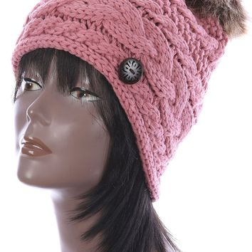 Pink Faux Fur Pom Pom Cable Knit Winter Beanie Hat And Cap