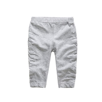 2016 New Baby Boys Girls Pants Kids Fashion Stitching Pleated Pant Trousers Grey 3M-3T Infantil Wear