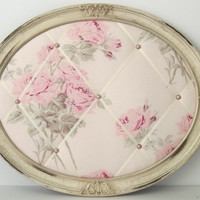 French Rose fabric Shabby Chic Oval Memo Board