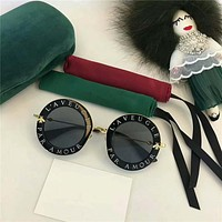 Fashion GG Metal Little Bee Round Frame Letter Sunglasses Glasses Women Collocation Accessories