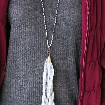 Singing The Blues Beaded Fabric Tassel Necklace