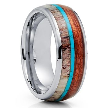 Deer Antler Tungsten Ring - Koa Wood Tungsten Ring - Turquoise Ring