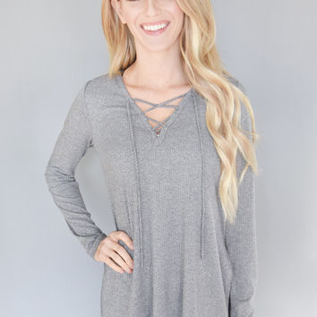 London Calling Lace Up Top Charcoal