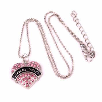 I Love My HARLEY  Drop shipping rhodium plated Crystal Heart pendant with Popcorn chain necklace