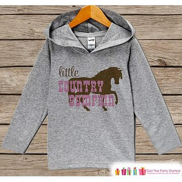 Kids Hoodie - Baby Girls Country Bumpkin Outfit - Grey Toddler Hoodie - Girl's Hoodie - Cowgirl Shirt - Horse Hoodie - Novelty Kids Pullover