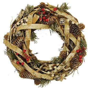 "13.5"" Country Rustic Pine Cones and Berries Christmas Wreath Decoration"