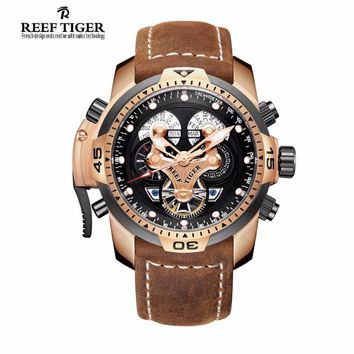 Men Watches Reef Tiger Brand Automatic Mechanical Waterproof Wrist watch Perpetual Calendar leather Watch man relogio masculino
