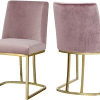 Heidi Pink Velvet Dining Chair (set of 2)