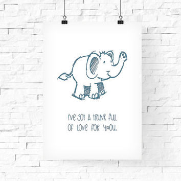 Cute Elephant Printable Art 8x10 - Instant Download - Digital Art Print - Kid's room decor, Baby's Wall Decor - Children's Room Wall Decor