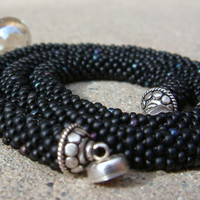 Bead Crochet Necklace Simple Black in Matte Black and by lanmom