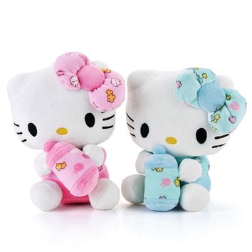 Cute Hello Kitty Plush Pink Hug Bottle Hello Kitty Cat Wearing Glasses Plush Kids Girls Home Decor Doll Toy Brand New 19*13CM