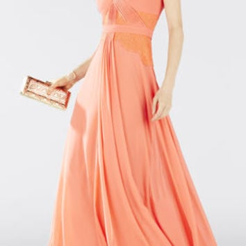 Pink BCBG Antonia Long Lace Pleated Gown