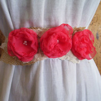 CORAL, Ivory and Burlap Wedding Dress Sash, Bridal Belt, Bridesmaid, Junior Bridesmaid or Flower Girl Ribbon Sash, Custom Colors Available