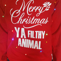 Light Up Ugly Christmas Sweater - Home Alone Inspired - Merry Christmas Ya Filthy Animal