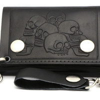 Tri-fold Leather Biker Wallet With Pile of Skulls Print Design With a Chain