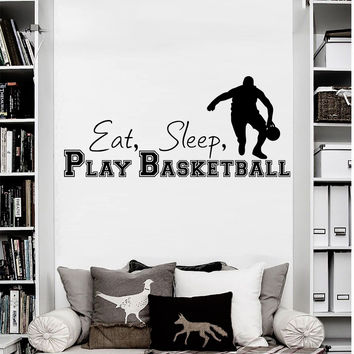 Wall Decal Quotes Sports Game Basketball Ball Design Vinyl Decals Gym Playroom Nursery Living Room Kids Bedroom Home Decor Art Mural 3798