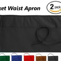 3 Pockets Waist Apron (SET of 2, Black, 24x12 inches) - Restaurant Half Aprons, Bartender Apron, Money Apron - by Utopia Wear