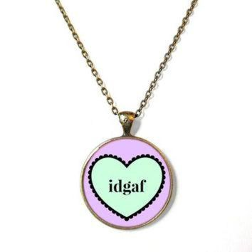 DCCKHD9 idgaf Conversation Heart Bronze Necklace - Pastel Goth Pop Culture Anti Valentine's Da