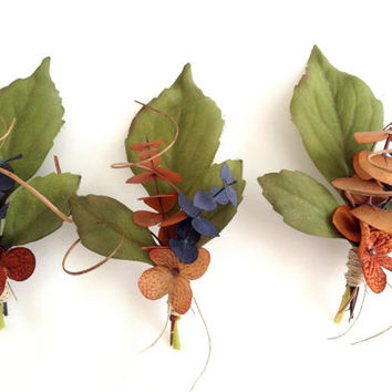 Boutonnière, Eucalyptus, Groom's Flower,  Hydrangea, Curly Ting, Cinnamon, Blue, Country Wedding,  Rustic, Fall, Winter (1)