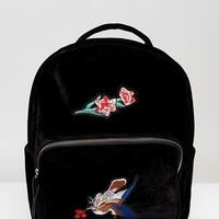 7X Velvet Backpack With Embroidery at asos.com