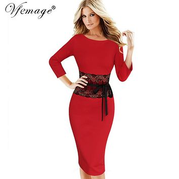 Vfemage Womens Autumn Winter Elegant Vintage Lace Tunic Casual Work Office Party Pencil Sheath Bodycon Vestidos Dress 4290